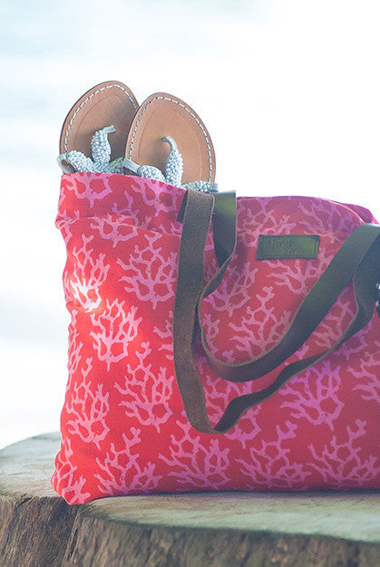 Coral Cotton Beach Bag