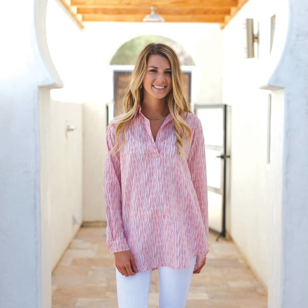 Aubree Coral Poet Shirt