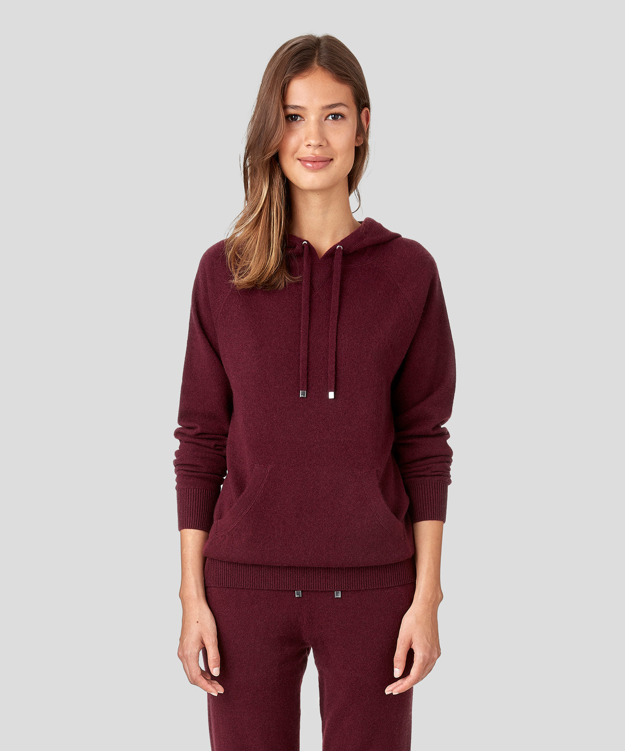 Cashmere Hoodie His For Her - burgundy red