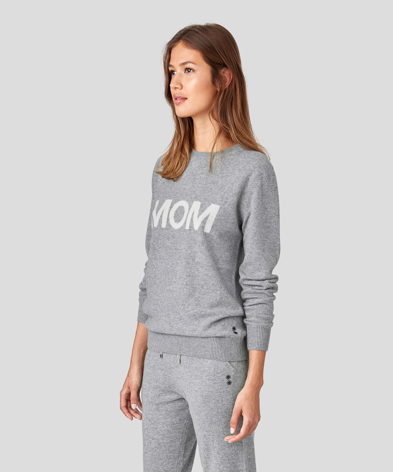 Cashmere Sweatshirt MOM - grey melange