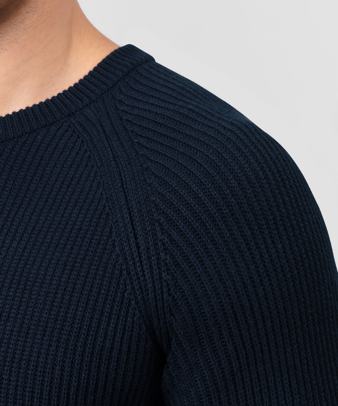 Ribbed Crew Neck Sweater - navy