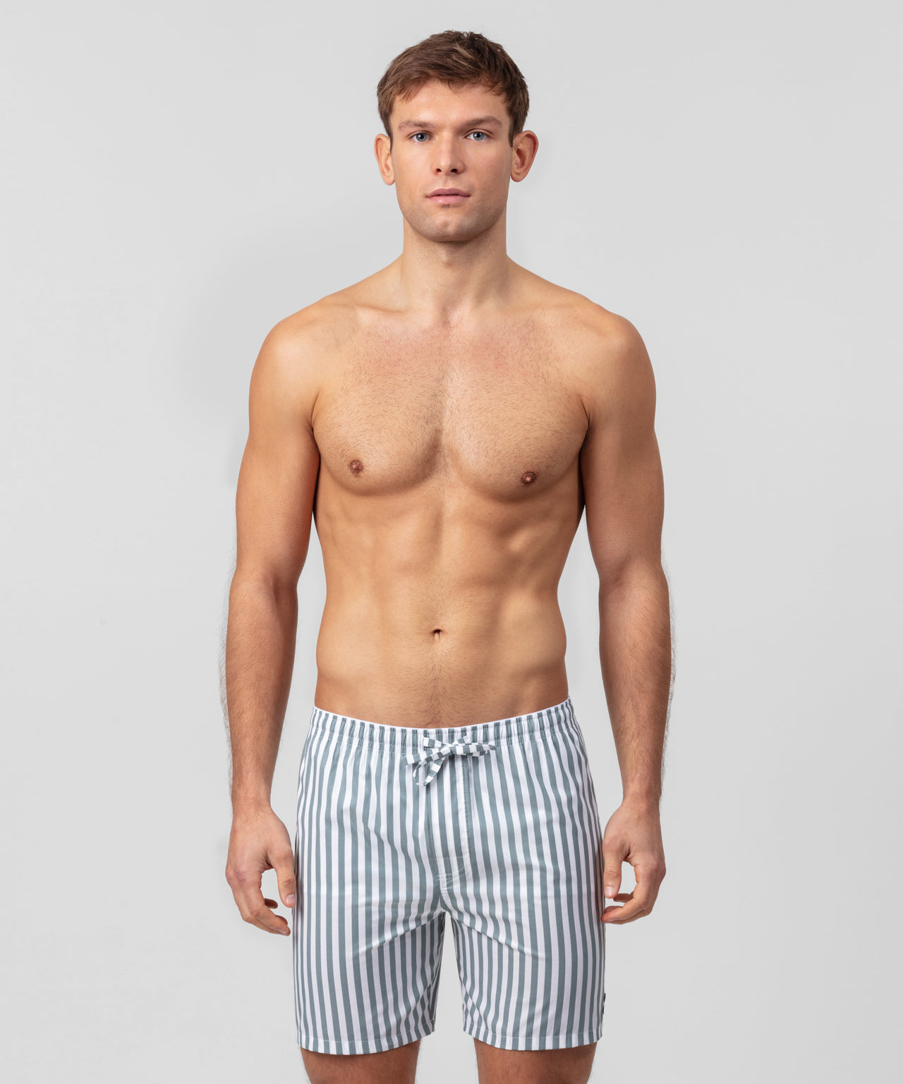 Pyjama Shorts Vertical Stripes - stormy sea/white
