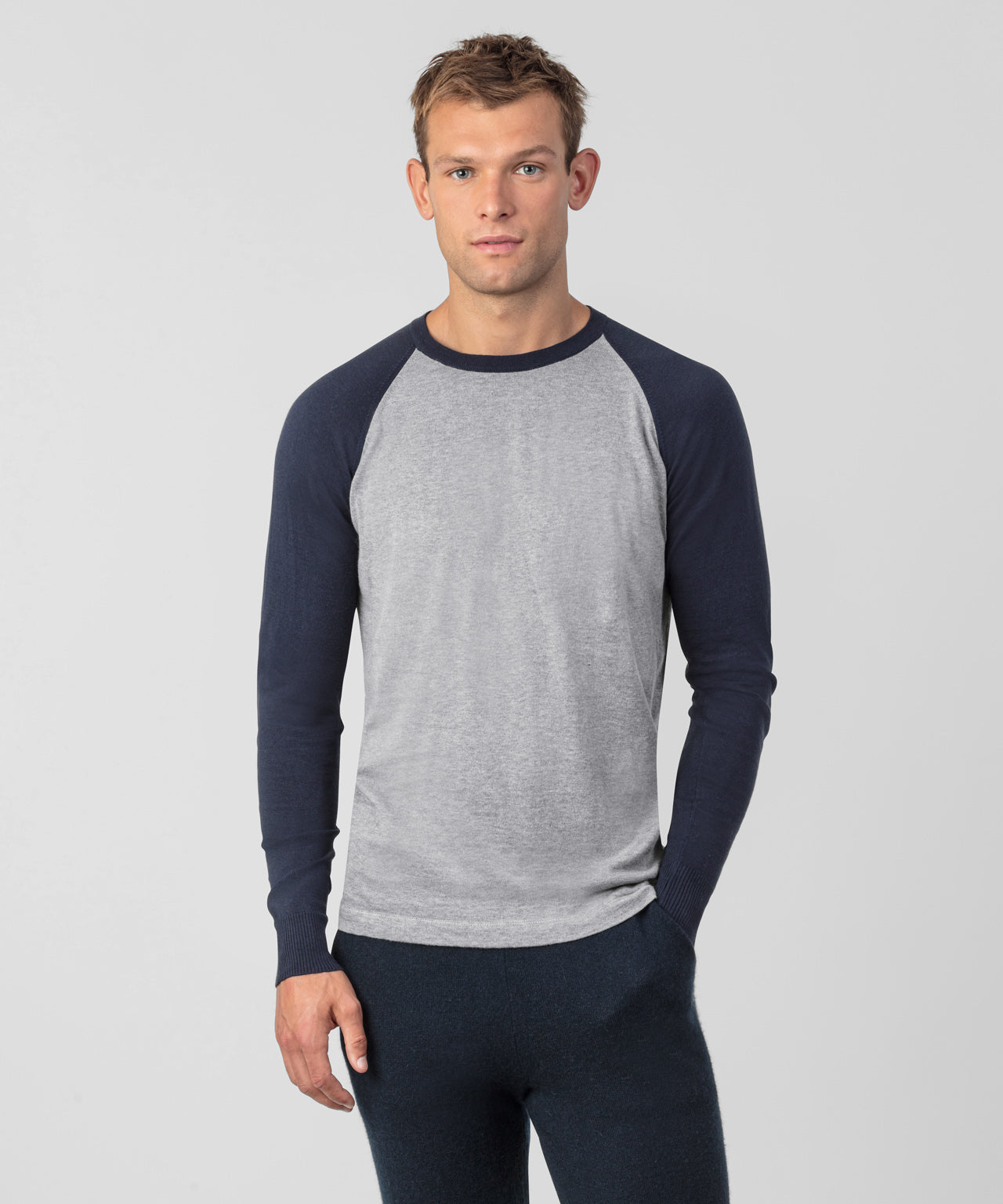 Cotton Cashmere Baseball Sweater - navy/grey melange