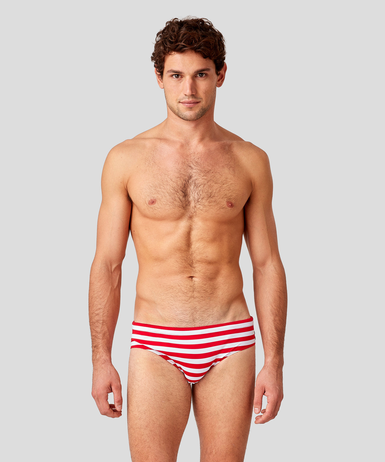 Swim Briefs Horizontal Stripes - red/white