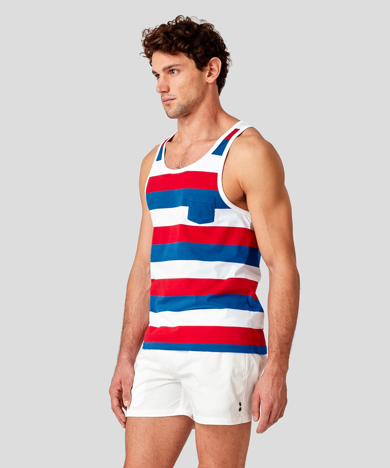 Tank Top Wide Stripes - red/electric blue