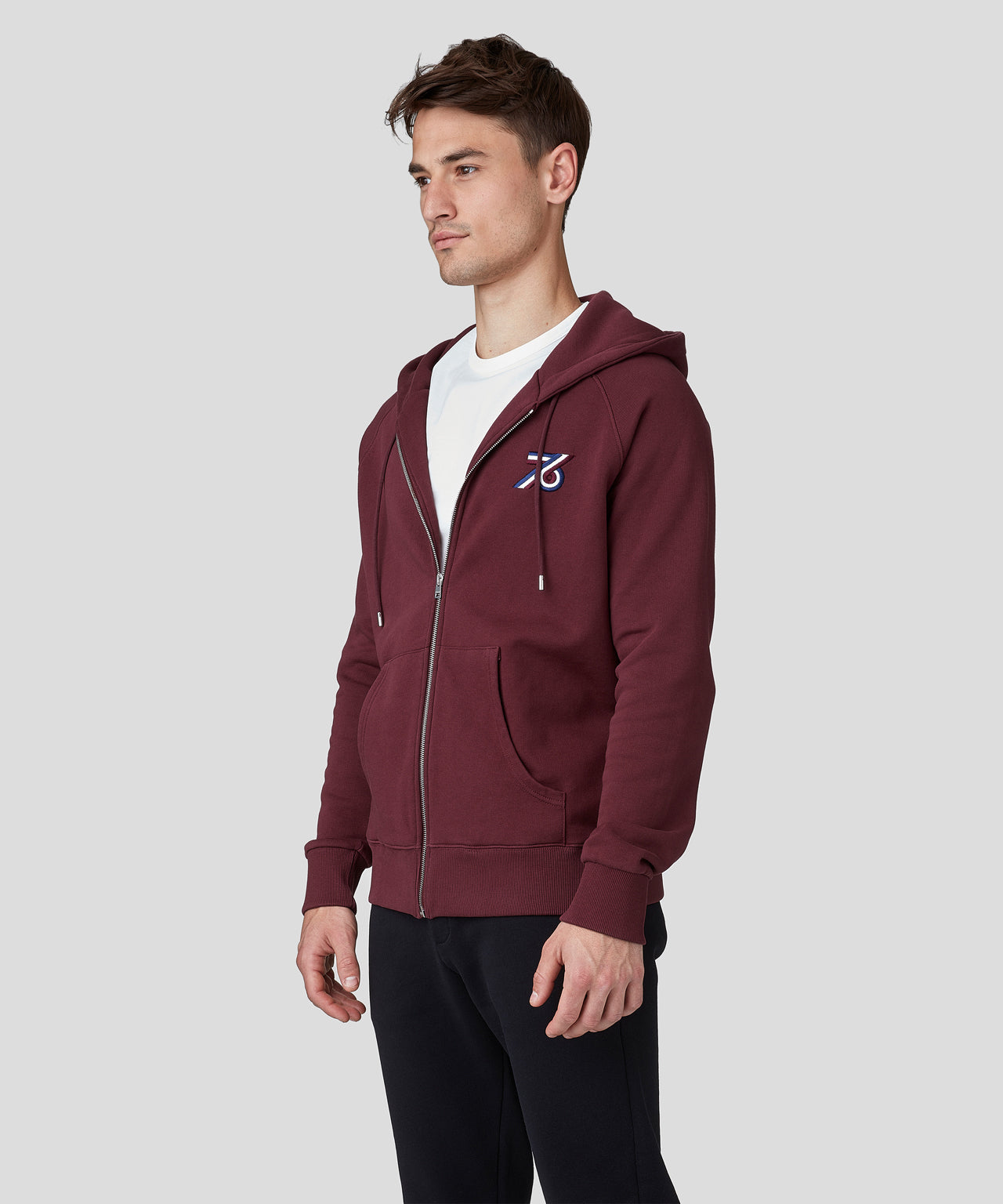 Zipped Hoodie 76 - burgundy red