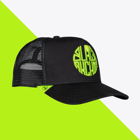Gorra trucker Black Anchor color verde neón