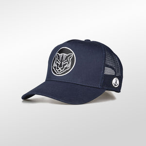 Gorra trucker azul oceanside My Black Anchor Animal tigre izquierdo