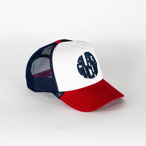Gorra trucker blanca, roja y azul My Black Anchor Black Anchor perfil derecho