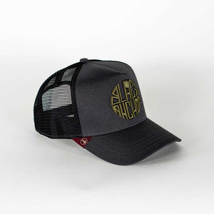 Gorra trucker gris My Black Anchor Black Anchor perfil derecho