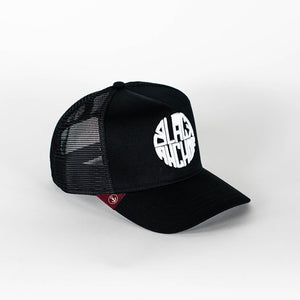 Gorra trucker negra My Black Anchor Black Anchor perfil derecho