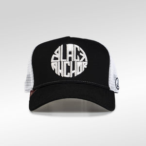 Gorra trucker negro y blanco My Black Anchor Black Anchor frontal