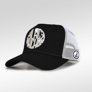 Gorra trucker negro y blanco My Black Anchor Black Anchor perfil izquierdo