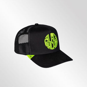 Gorra trucker negra neón My Black Anchor Black Anchor perfil derecho