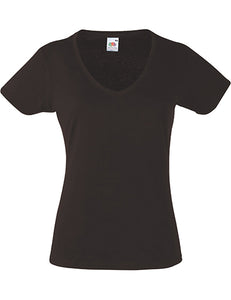 Dámske tričko | chocolate | LADY-FIT V-NECK T - TopHandry