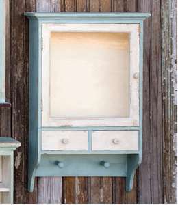 Farmhouse Bottle Cabinet- Robin Egge Blue/White