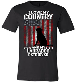I Love My Country And My Labrador Retriever Short Sleeve Tee Shirt
