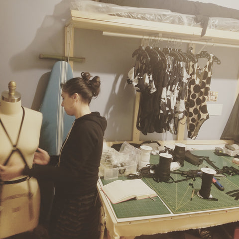 Masha of Wicked Mmm in her sewing studio
