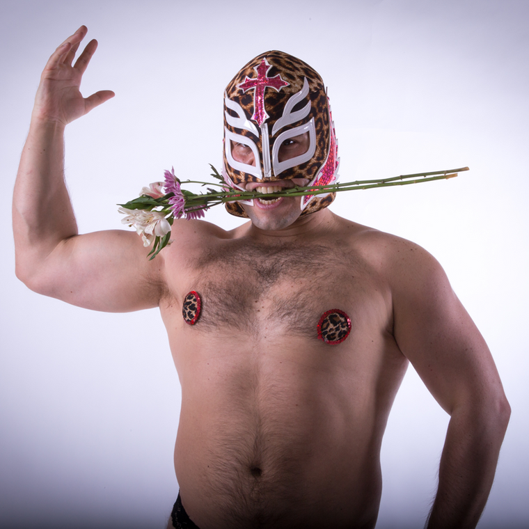 Luchador - Golden Thunderpants - Flower in mouth