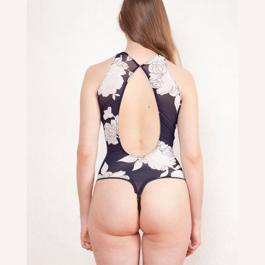 navy floral bodysuit blue