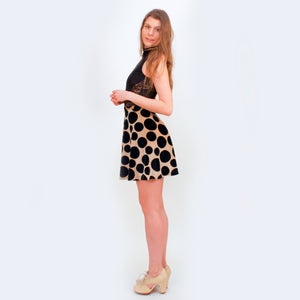 Wicked Mmm Deep Pockets black and gold polka dot skirt