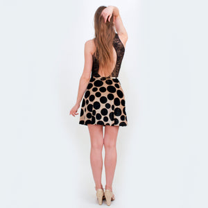 Deep Pockets black and gold polka dot skirt