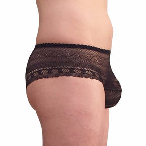 Panties: Black meshy-lace with lined pouch