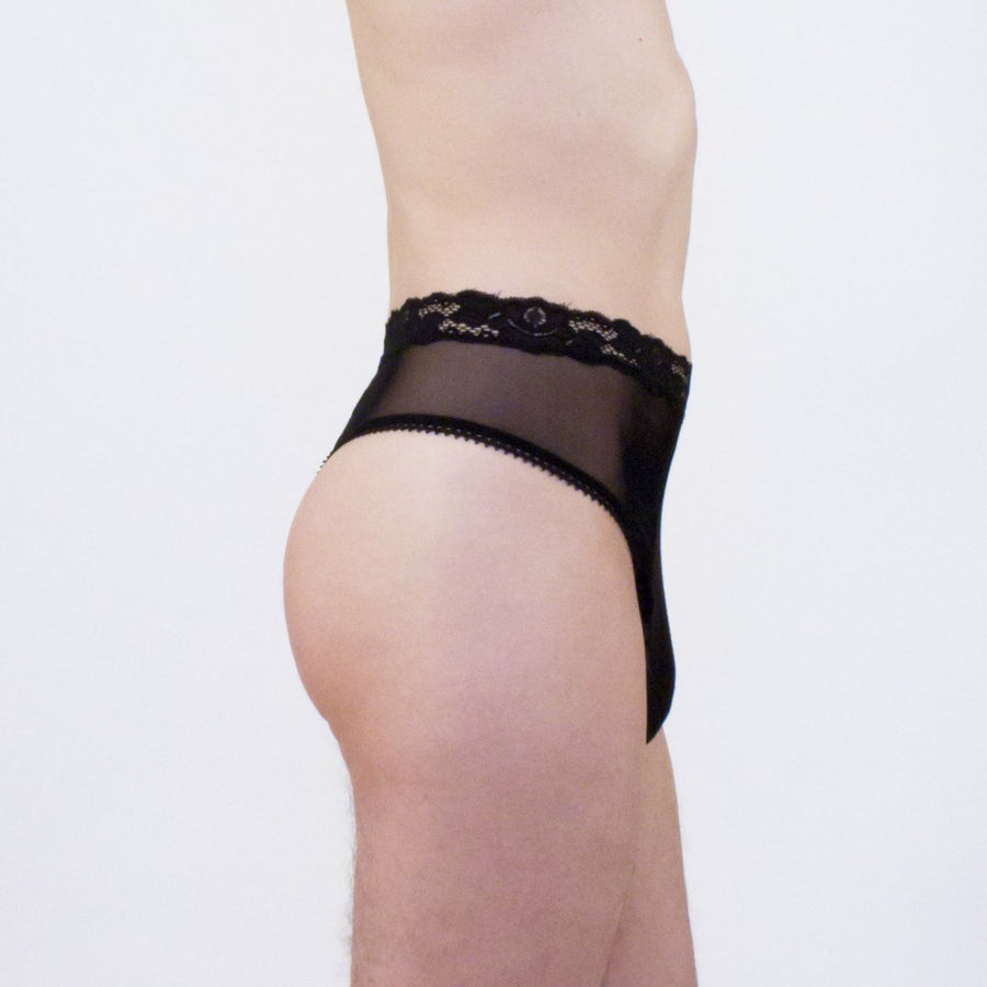 Black Diamond high waist lace thong