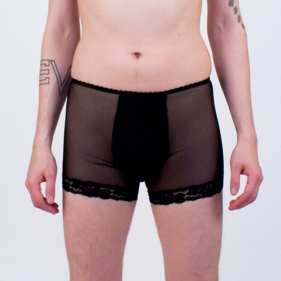 Black Diamond Mesh boxer briefs lace trim