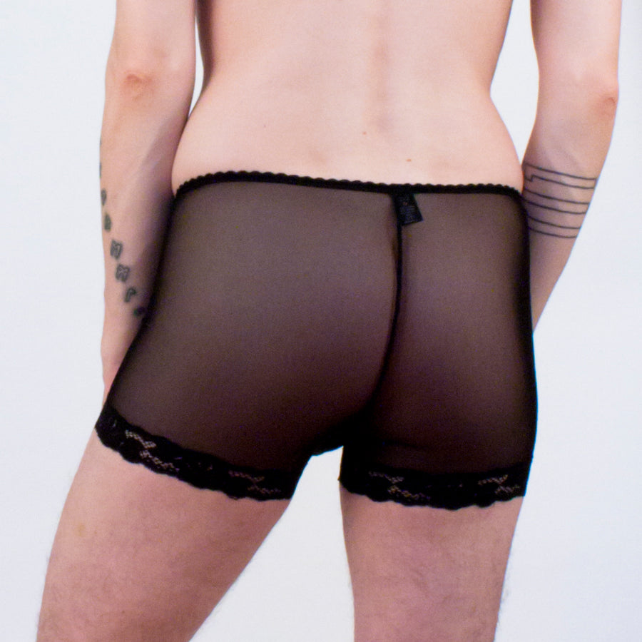 Wicked Mmm Black Diamond Mesh boxer briefs lace trim