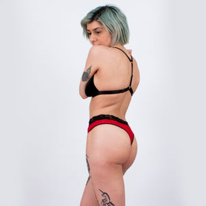 Poppy thong - red lace - women