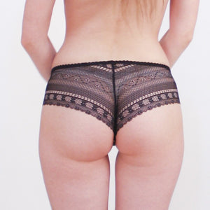 Black meshy-lace panties lined in front