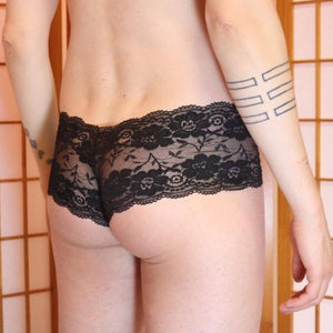 Cherry Blossom trunk style lace hip huggers Black