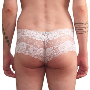 Cherry Blossom trunk style lace hip huggers White