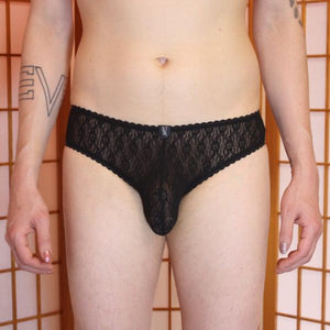 Briefs: Black lace lingerie for men