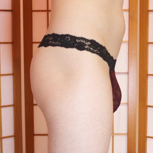 G-string: Burgundy lace