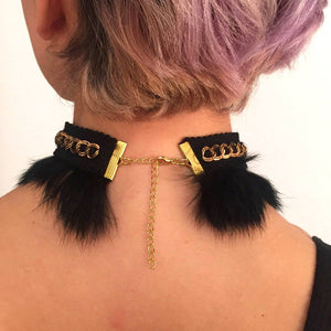 Black and Gold furry choker