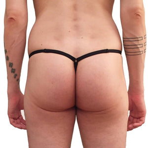 Adjustable: One size fits All G-String with Frilly black pouch