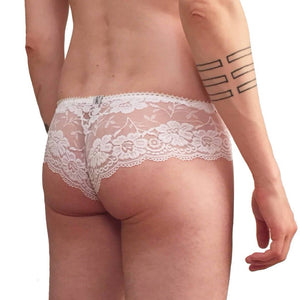 Dainty floral lace panties white
