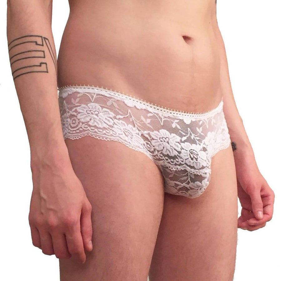 Wicked Mmm mens Dainty floral lace panties black