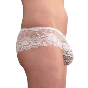 Men Dainty floral lace panties white