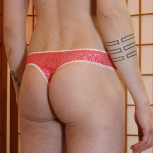 Dream lace cheeky thong - Coral pink