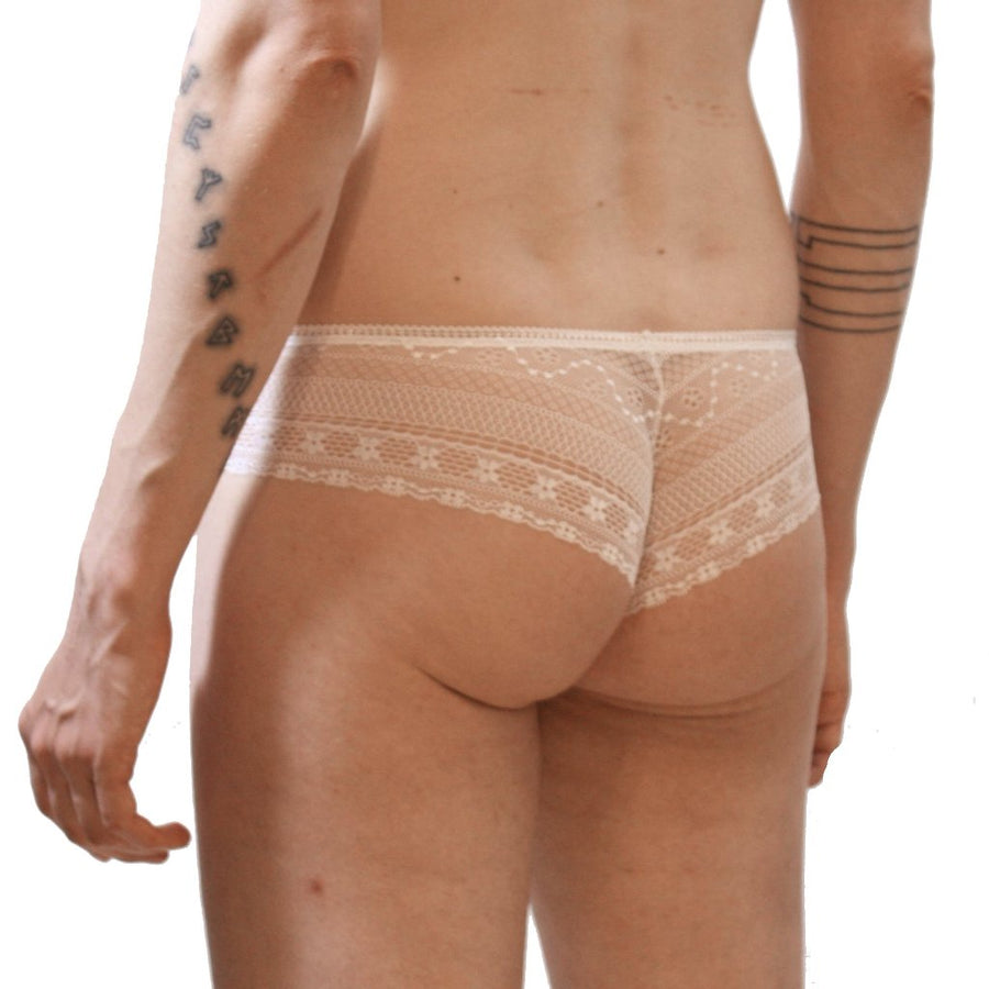 Panties: White meshy-lace with lined pouch