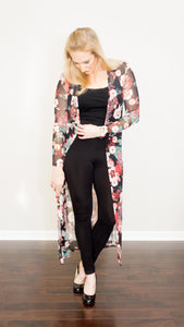 Long Sheer Floral Cardigan