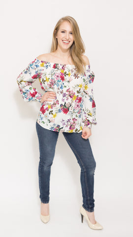 Off-the-shoulder Floral Long Sleeve