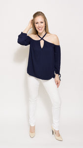 Navy Cold Shoulder Top