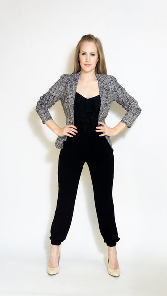 Anita Rose Blazer- Black and White Print