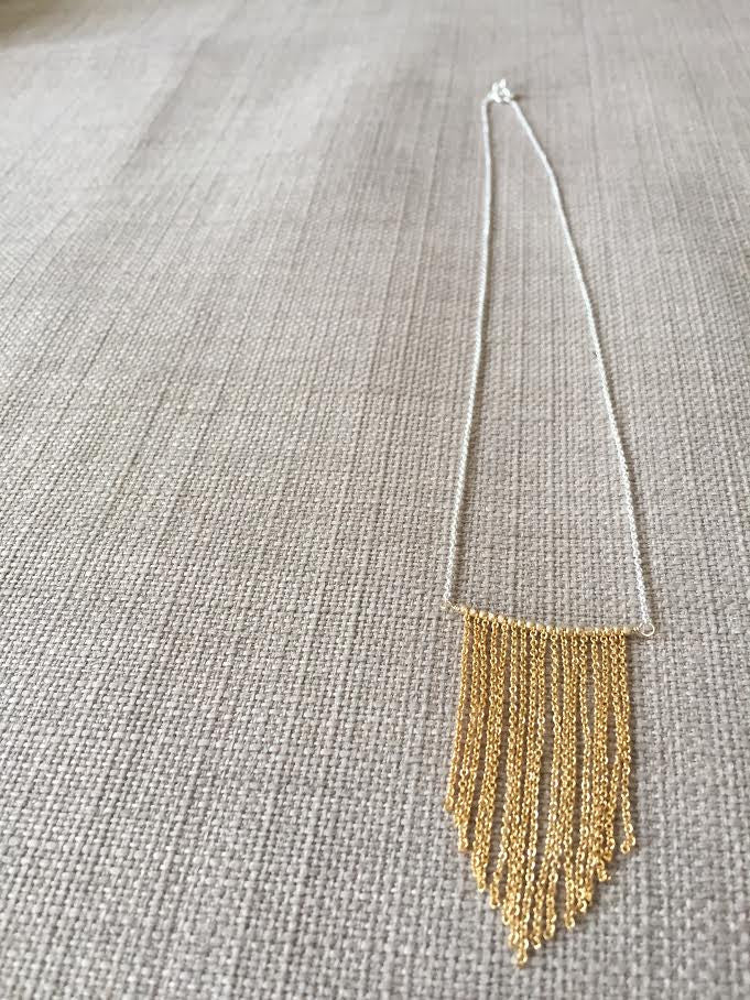 Chevron Chain Fringe Necklace