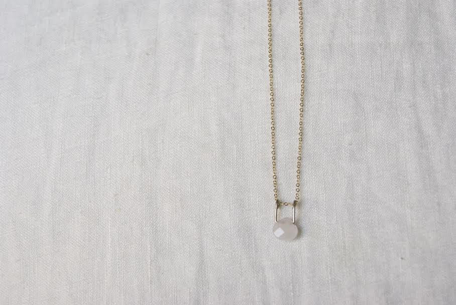 Hanging Rose Quartz Necklace