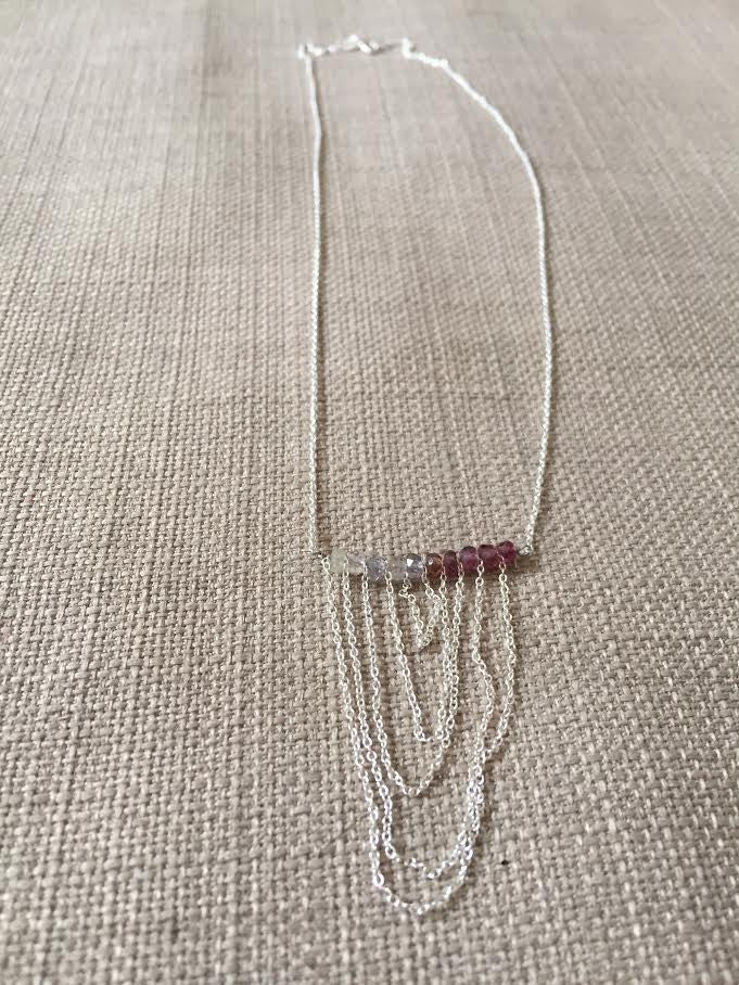 Ombre Pink Sapphire Hanging Chain Necklace